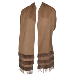 Fendi Brown Cashmere Shawl with Mink Fur Trim