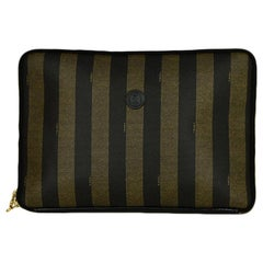 Fendi Brown Coated Canvas Pequin Striped Medium Portfolio
