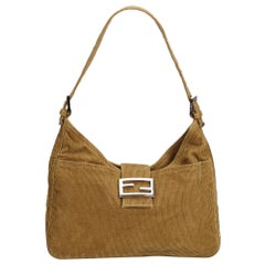 92d947a6e8 Fendi Brown Corduroy Fabric Mamma Shoulder Bag Italy w/ Dust Bag