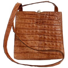Fendi Brown Crocodile Leather Crossbody Bag 1980s Golden Insert Monogram Lining