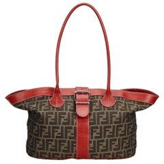 Fendi Brown Dark Brown Canvas Fabric Zucca Tote Bag Italy