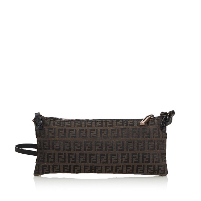 fe8f6926e0 Black Fendi Brown Dark Brown Canvas Fabric Zucchino Crossbody Bag Italy For  Sale