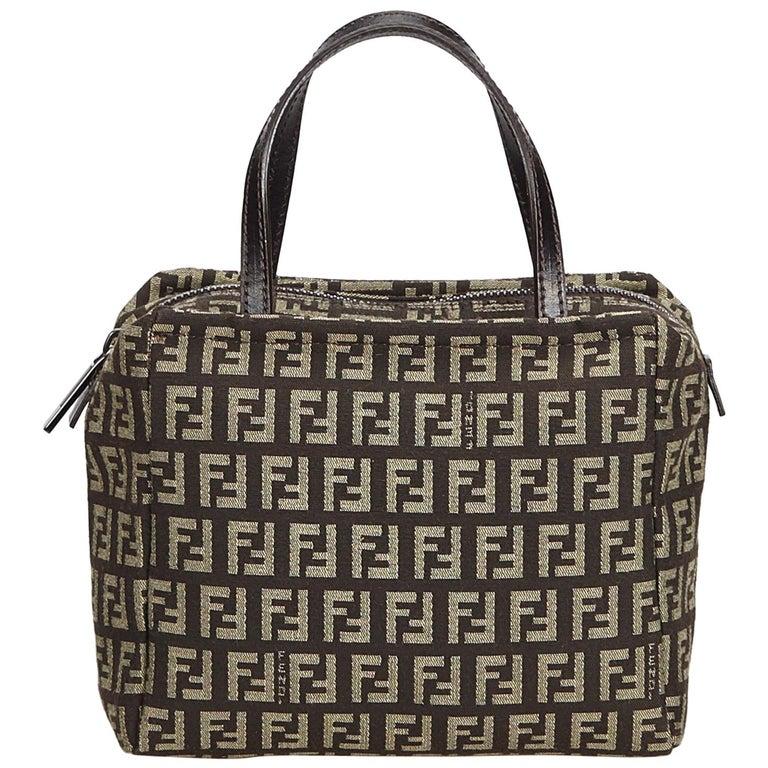 ea2b88bdeb1bf Fendi Brown Dark Brown Jacquard Fabric Zucchino Handbag Italy w  Dust Bag  For Sale