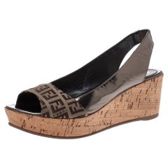 Fendi Brown FF Canvas And Metallic Bronze Leather Cork Wedge Platform Sandals 38