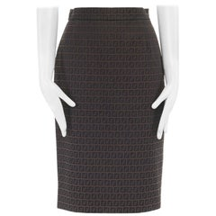 FENDI brown FF monogram jacquard slit back knee length pencil skirt IT40