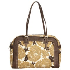 Fendi Brown Floral Printed Canvas Shoulder Bag