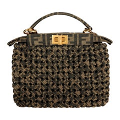 Fendi Brown Jacquard Interlace Iconic Peekaboo Mini Bag