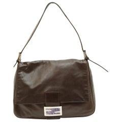 Fendi Brown Leather Baguette Shoulder Bag