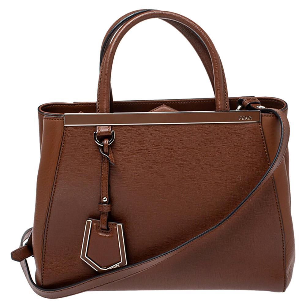 Fendi Brown Leather Mini 2Jours Tote