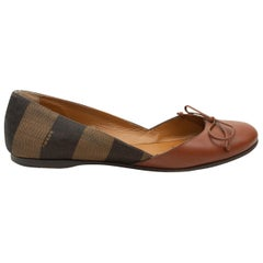 Fendi Brown Leather & Pequin Ballet Flats