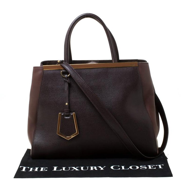 Fendi Brown Leather Petite 2Jours Tote For Sale 7