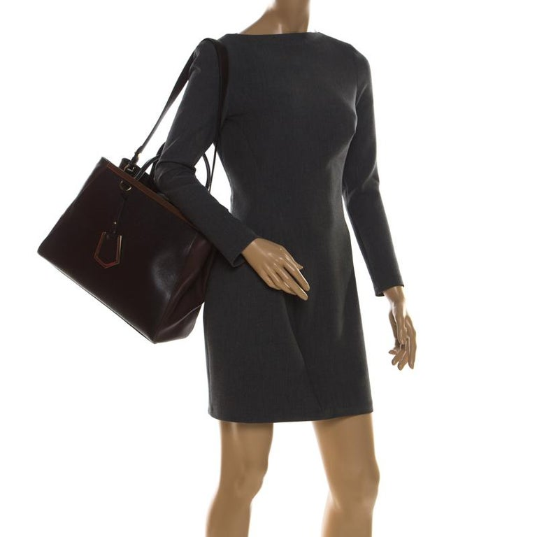 Black Fendi Brown Leather Petite 2Jours Tote For Sale