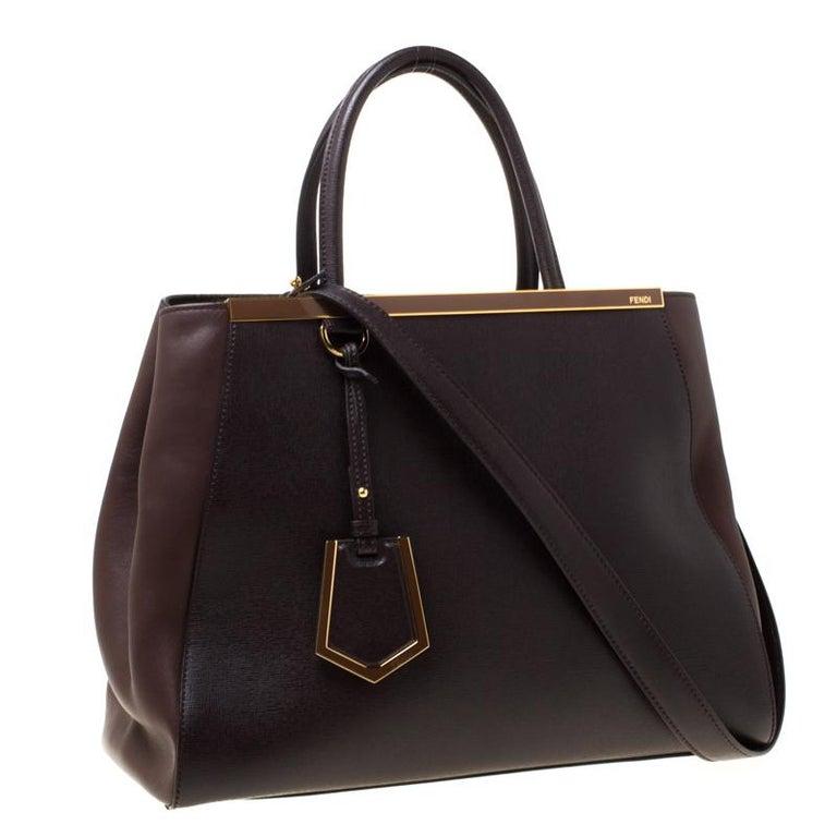 Fendi Brown Leather Petite 2Jours Tote In Good Condition For Sale In Dubai, Al Qouz 2