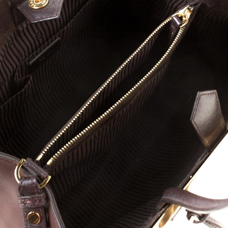 Fendi Brown Leather Petite 2Jours Tote For Sale 3