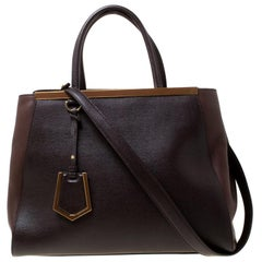 Fendi Brown Leather Petite 2Jours Tote