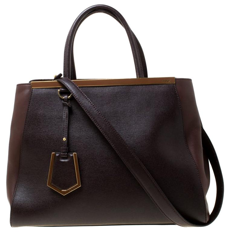 Fendi Brown Leather Petite 2Jours Tote For Sale