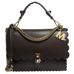 Fendi Brown Leather Small Kan I Shoulder Bag