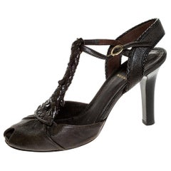 Fendi Brown Leather T Strap Peep Toe Ankle Strap Sandals Size 38
