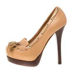Fendi Brown Leather Tassel Detail Platform Loafers Pumps Size 37.5
