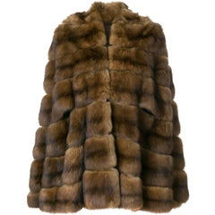 Fendi Brown Marten Vintage Cape Coat, 1970s
