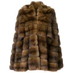 Fendi Brown Marten Vintage Cape Coat, 1970s