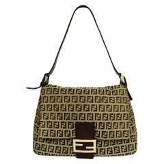 Fendi Brown Mini Monogram Zucchino Mama Baguette Shoulder Bag