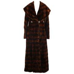 Fendi Brown Mole Fur Double Breasted Long Coat