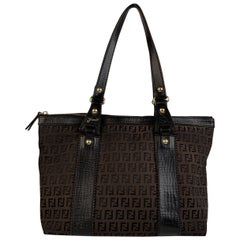 Fendi Brown Monogram Zucchino Canvas Tote Shoulder Bag