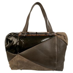 Fendi Brown Panelled Leather Radica Boston Bag Satchel