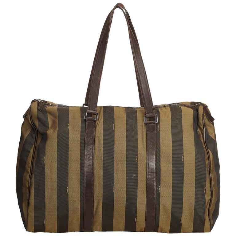 815ef9996333 Fendi Yellow Selleria Leather Weekender Bag. HomeFashionHandbags and PursesLuggage  and Travel Bags. Fendi Brown Pequin Nylon Weekender For Sale