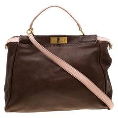 Fendi Brown/Pink Selleria Leather Large Peekaboo Top Handle Bag