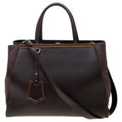 Fendi Brown Saffiano Leather 2Jours Tote