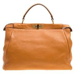 Fendi Brown Selleria Leather Large Peekaboo Top Handle Bag