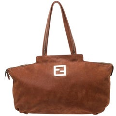 Fendi Brown Suede Chain Handle Tote