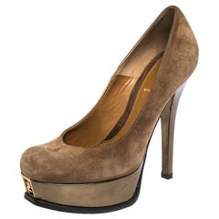 Fendi Brown Suede Fendista Platform Pumps Size 38