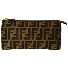 Fendi Brown Tobacco Monogram Zucca Canvas Zip Top Pouch/Cosmetic Case