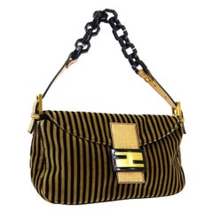 Fendi Brown Velvet Stripe Gold Logo Small Top Handle Shoulder Pochette Flap Bag