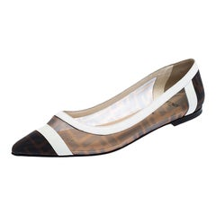 Fendi Brown/White Zucca Mesh and Leather Ballet Flats Size 38