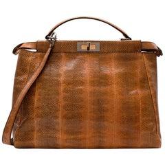 Fendi Brown & Yellow Snakeskin Large Peekaboo Tote Bag