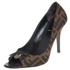 Fendi Brown Zucca Canvas Bow Peep Toe Pumps Size 39