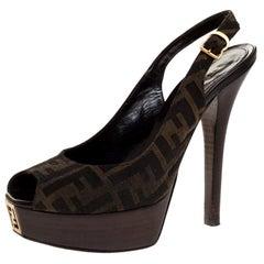 Fendi Brown Zucca Canvas Platform Peep Toe Ankle Strap Sandals Size 39