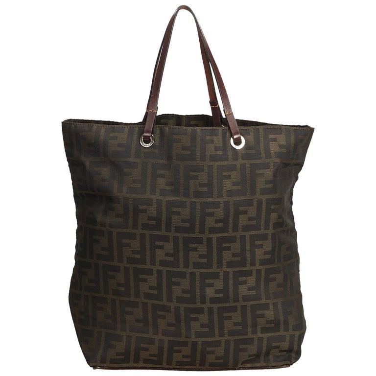 b9b1cc07e522 Fendi Brown Zucca Canvas Tote Bag at 1stdibs