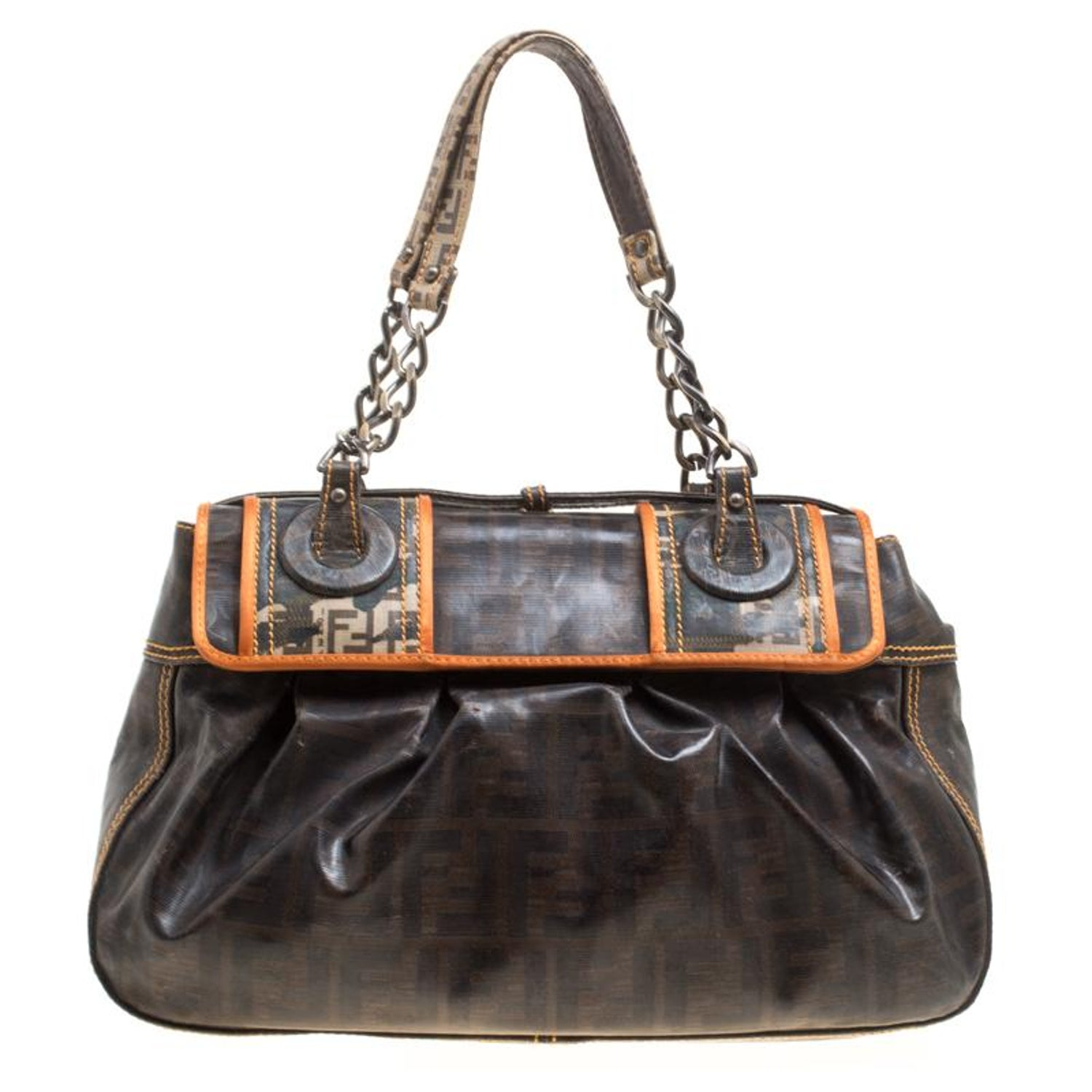 26947d41463b Fendi Brown Zucca Coated Canvas B Bag For Sale at 1stdibs