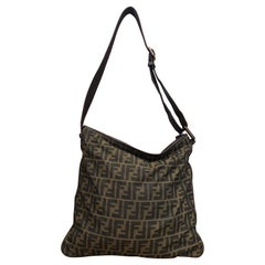 FENDI Brown Zucca Jacquard Flat Crossbody Bag Mens Unisex Large
