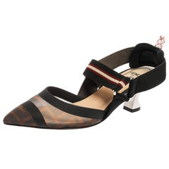 Fendi Brown Zucca Mesh and Fabric Colibri Slingback Pumps Size 35