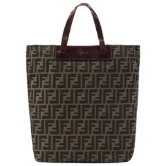 FENDI Brown Zucca Monogram Canvas Dual Handle Foldable Shopping Tote