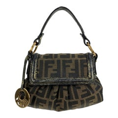 Fendi Brown Zucca Monogram Canvas Mini Chef Bag Handbag Purse
