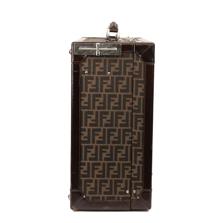 Black Fendi Brown Zucca Monogram Canvas Trunk Originally Owned by Karl Lagerfeld For Sale
