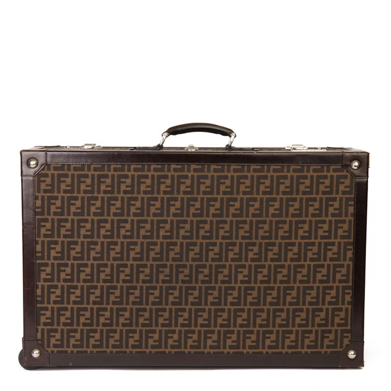 Fendi Brown Zucca Monogram Canvas Trunk Originally Owned by Karl Lagerfeld In Good Condition For Sale In Bishop's Stortford, Hertfordshire