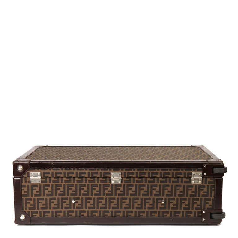 Women's or Men's Fendi Brown Zucca Monogram Canvas Trunk Originally Owned by Karl Lagerfeld For Sale